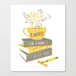 Tea & Books (C.S Lewis) - gray/yellow Canvas Print
