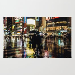 Love actually is all around - Rainy Night at Shibuyacrossing Rug
