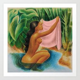 Bather Holding Up Her Kemban by Miguel Covarrubias Art Print