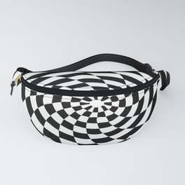 Optical Illusion Op Art Black and White Retro Style Fanny Pack