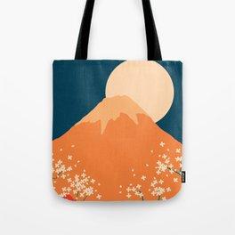 Japanese Mount Fuji Retro Pop Art Landscape Tote Bag