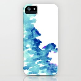 Blue, turquoise water cloud. Colorful watercolor painting iPhone Case