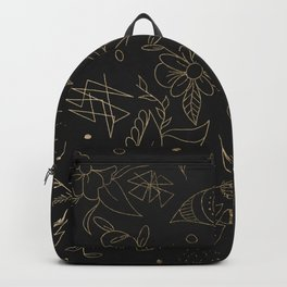 Gold foil floral pattern and geometric triangles on grey Backpack