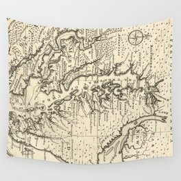Vintage Map of The Chesapeake Bay (1752) Wall Tapestry