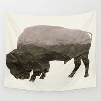 bison Wall Tapestries featuring Bison by James Wetherington