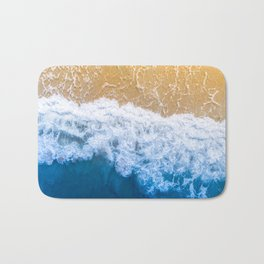 Ocean blue sand brown Bath Mat