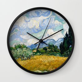 Wheat Field with Cypresses - Vincent van Gogh Wall Clock