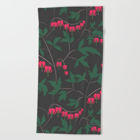 Retro. Floral pattern on a grey background . Beach Towel
