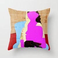 picasso Throw Pillows featuring Picasso Woman by Marko Köppe