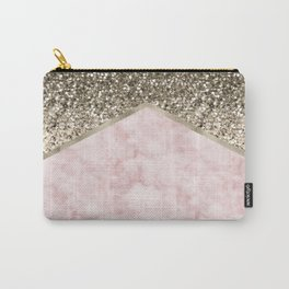 Shimmering golden chevron pink marble Carry-All Pouch