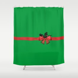 green xmas gift Shower Curtain