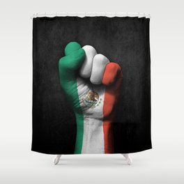 Mexican Flag on a Raised Clenched Fist Shower Curtain