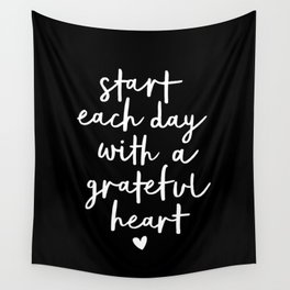 Start Each Day With a Grateful Heart black-white typography poster design modern wall art home decor Wall Tapestry