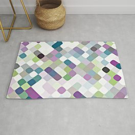 Purple Lime Green Abstract Rounded Squares Pattern Rug