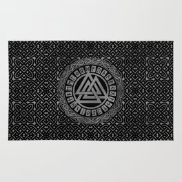Silver Metallic Valknut Symbol on Celtic Pattern Rug