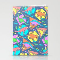 yetiland Stationery Cards featuring Nineties Dinosaur Pattern by chobopop