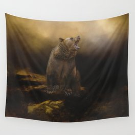 Roaring grizzly bear Wall Tapestry