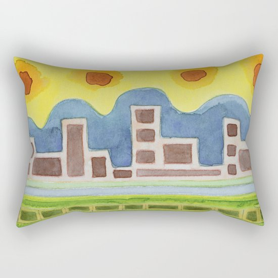 Surreal Simplified Cityscape Rectangular Pillow