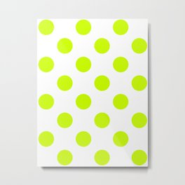 Large Polka Dots - Fluorescent Yellow on White Metal Print