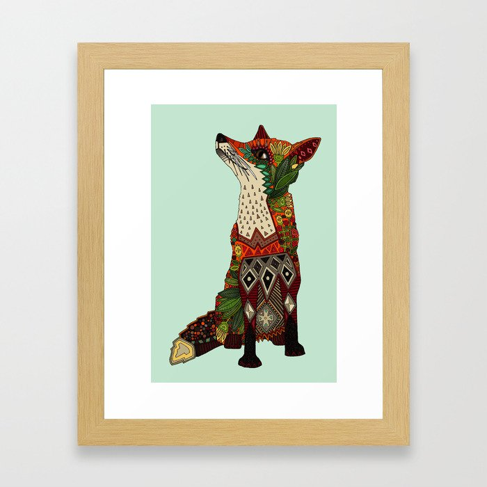 fox love mint Framed Art Print