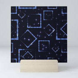 Celestial rhombuses and squares at the intersection with stars on a blue background. Mini Art Print