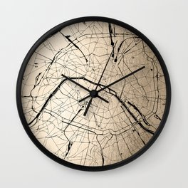 Paris France Minimal Street Map - Gold on Black II Wall Clock