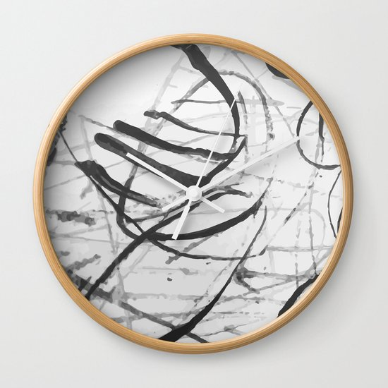 wild black strokes Wall Clock