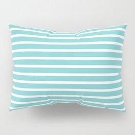 Nautical Teal Sea Breeze Horizontal Stripes Pillow Sham