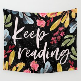 Keep Reading - Black Wall Tapestry