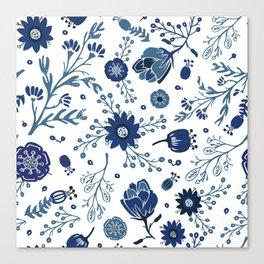 Blue China Flowers Canvas Print