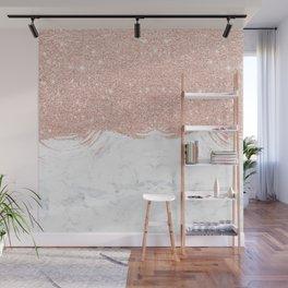 Trendy modern faux glitter rose gold brushstrokes white marble Wall Mural