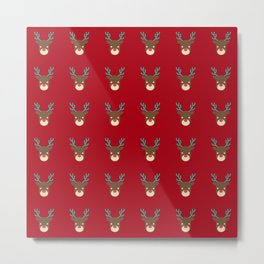 Cute deer pattern Christmas decorations retro colors dark red background Metal Print