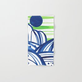 Lime and blue abstract landscape Hand & Bath Towel