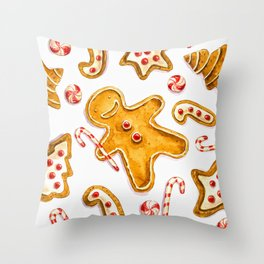 Gingerbread cookies pattern in watercolor Throw Pillow