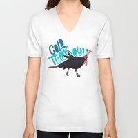 turkey V-neck T-shirts featuring Cold Turkey by Chelsea Herrick