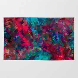 psychedelic geometric triangle abstract pattern in pink red blue Rug