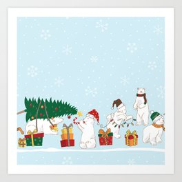 Polar Christmas Border Art Print