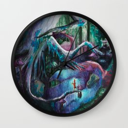 Psychedelic forest Wall Clock
