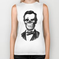 lincoln Biker Tanks featuring Lincoln Skull by BIOWORKZ