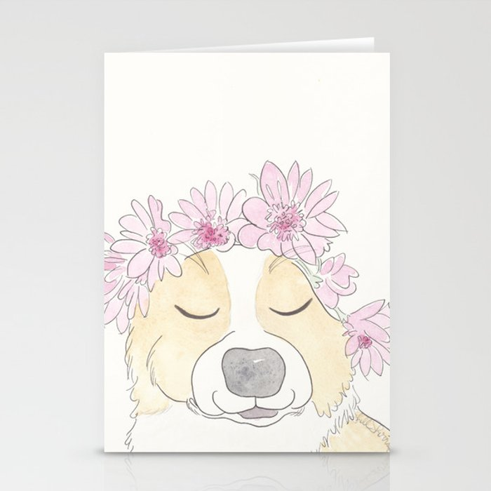 Adorable Corgi with Pink Flower Crown Stationery Cards