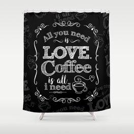 Love & Coffee (B&W Punk) Shower Curtain