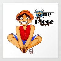 luffy Art Prints featuring Luffy by TheDigitalPandora