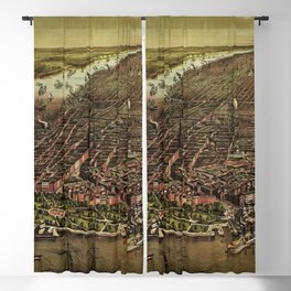 1873 NYC Ferd. Mayer & Sons, Lithograph of NYC - Manhattan in color Blackout Curtain