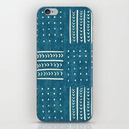 Mud Cloth Patchwork in Teal iPhone Skin