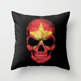 Dark Skull with Flag of Vietnam Throw Pillow