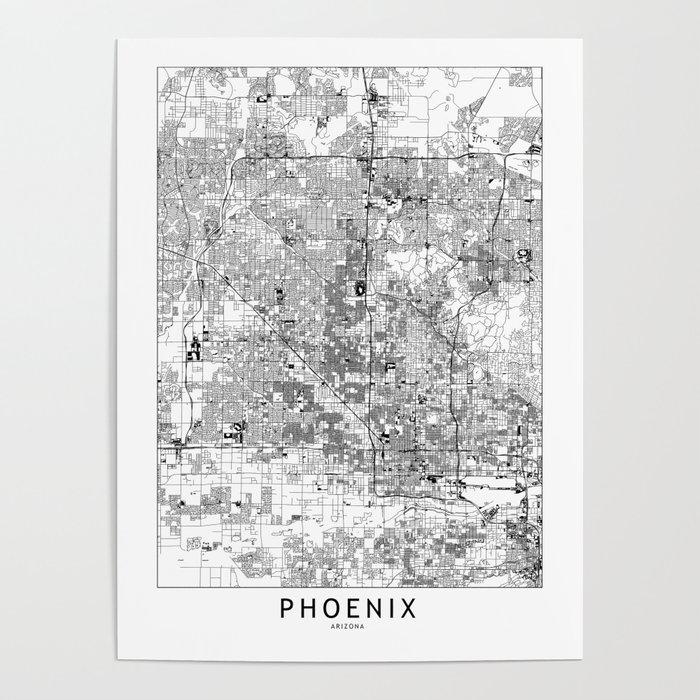 Phoenix White Map Poster