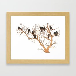 Black Birds on Brown Branches Clusters Jean Dunand Art Deco Framed Art Print
