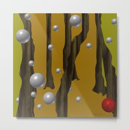 one red ball in the forest. Metal Print