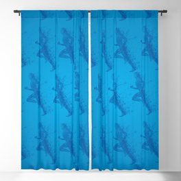 Watercolor running man silhouette background in blue color pattern Blackout Curtain