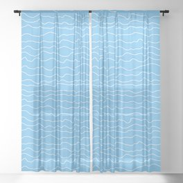Turquoise with White Squiggly Lines Sheer Curtain
